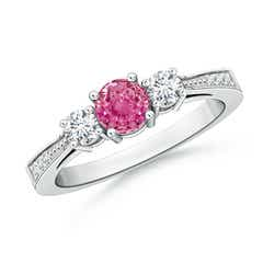 Cathedral Three Stone Round Pink Sapphire Engagement Ring
