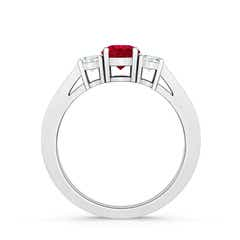 Toggle Cathedral Three Stone Ruby & Diamond Engagement Ring