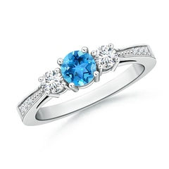Cathedral Three Stone Round Swiss Blue Topaz Engagement Ring