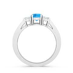 Toggle Cathedral Three Stone Swiss Blue Topaz Engagement Ring