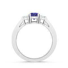 Toggle Cathedral Three Stone Tanzanite & Diamond Engagement Ring