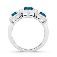 Triple Halo Enhanced Blue Diamond Three Stone Engagement Ring