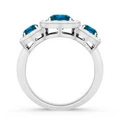 Toggle Three Stone Enhanced Blue Diamond Engagement Ring with Halo