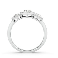 Triple Halo Moissanite Three Stone Engagement Ring