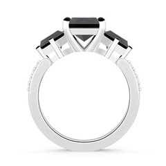 Toggle Three Stone Enhanced Black Diamond Engagement Ring