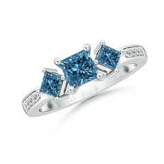 Three Stone Enhanced Blue Diamond Engagement Ring