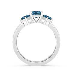 Toggle Three Stone Enhanced Blue Diamond Engagement Ring