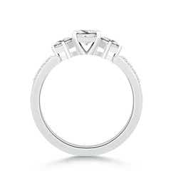 Toggle Three Stone Diamond Engagement Ring