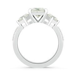 Square Three Stone Moissanite Engagement Ring