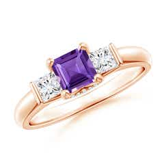 Classic 3 Stone Square Amethyst and Diamond Engagement Ring
