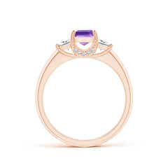 Toggle Classic Square Amethyst and Diamond Engagement Ring