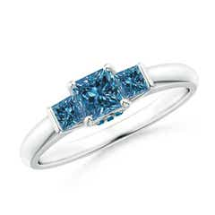 Classic Princess-Cut Enhanced Blue Diamond Engagement Ring
