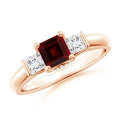 Classic 3 Stone Square Garnet and Diamond Engagement Ring