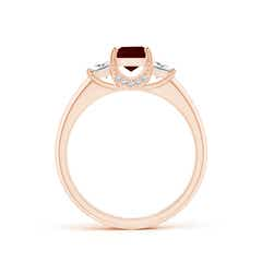Toggle Classic Square Garnet and Diamond Engagement Ring