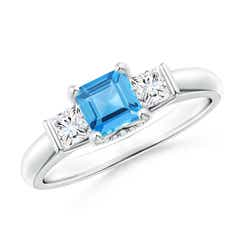 Classic Square Swiss Blue Topaz and Diamond Engagement Ring