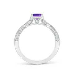 Toggle Square Amethyst Solitaire Crossover Engagement Ring