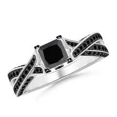 Solitaire Princess Cut Enhanced Black Diamond Crossover Ring