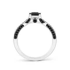 Toggle Princess-Cut Enhanced Black Diamond Crossover Engagement Ring