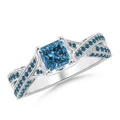 Solitaire Princess Cut Enhanced Blue Diamond Crossover Ring