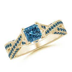 Princess-Cut Enhanced Blue Diamond Crossover Engagement Ring