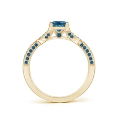 Toggle Princess-Cut Enhanced Blue Diamond Crossover Engagement Ring