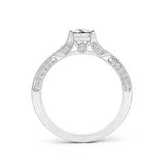 Toggle Princess-Cut Diamond Solitaire Crossover Engagement Ring