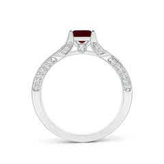 Toggle Square Garnet Solitaire Crossover Engagement Ring