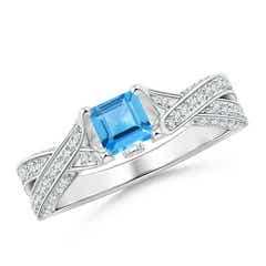 Square Swiss Blue Topaz Solitaire Crossover Engagement Ring