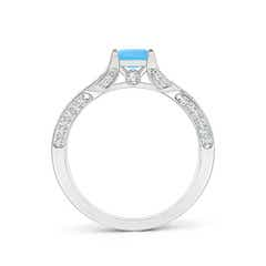 Toggle Square Swiss Blue Topaz Solitaire Crossover Engagement Ring