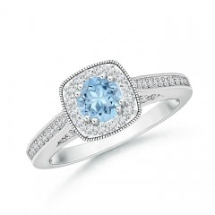 Round Aquamarine Cushion Halo Ring with Milgrain