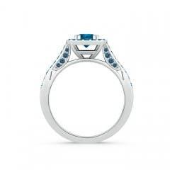 Round Enhanced Blue Diamond Halo Ring with Cushion Milgrain Detailing