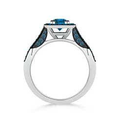 Toggle Round Enhanced Blue Diamond Cushion Halo Ring with Milgrain