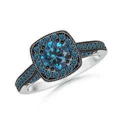Round Enhanced Blue Diamond Cushion Halo Ring with Milgrain