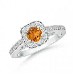 Round Citrine Cushion Halo Ring with Milgrain