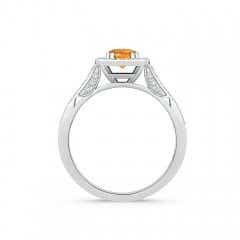 Toggle Round Citrine Cushion Halo Ring with Milgrain