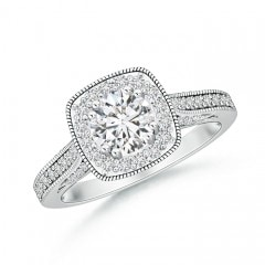 Round Diamond Cushion Halo Ring with Milgrain