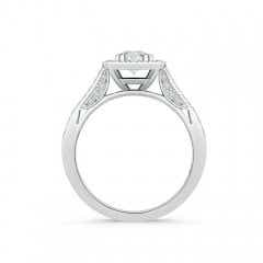 Toggle Round Diamond Cushion Halo Ring with Milgrain