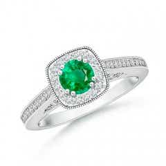 Round Emerald Cushion Halo Ring with Milgrain
