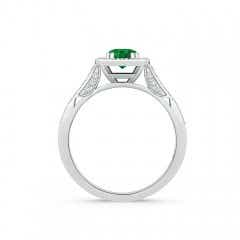 Toggle Round Emerald Cushion Halo Ring with Milgrain