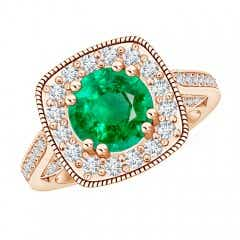 Angara GIA Certified Round Emerald Cushion Halo Ring with Milgrain gantce