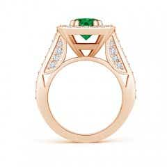 Toggle GIA Certified Round Emerald Cushion Halo Ring with Milgrain