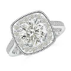 Round Moissanite Halo Ring with Cushion Milgrain Detailing