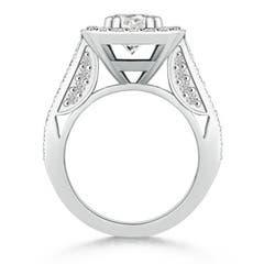 Round Moissanite Halo Ring with Cushion Milgrain Detailing