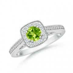 Round Peridot Halo Ring with Cushion Milgrain Detailing
