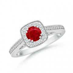 Round Ruby Cushion Halo Ring with Milgrain