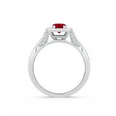 Toggle Round Ruby Cushion Halo Ring with Milgrain