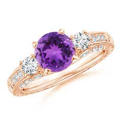 Three Stone Round Amethyst and Diamond Ring with Accents