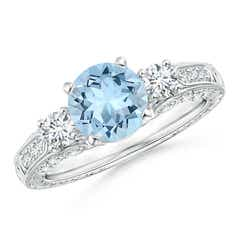 Three Stone Round Aquamarine and Diamond Ring