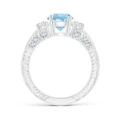 Toggle Three Stone Round Aquamarine and Diamond Ring