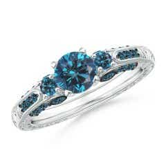 Three Stone Round Enhanced Blue Diamond Ring